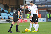 Referee Sebastian Stockbridge marks out for a free kick for Bradford City midfielder, on loan from Wolverhampton Wanderers, Lee Evans  just outside the penalty are during the Sky Bet League 1 match between Scunthorpe United and Bradford City at Glanford Park, Scunthorpe, England on 21 November 2015. Photo by Ian Lyall.