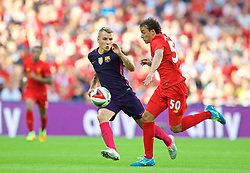 LONDON, ENGLAND - Saturday, August 6, 2016: Liverpool's Lazar Markovic in action against Barcelona during the International Champions Cup match at Wembley Stadium. (Pic by David Rawcliffe/Propaganda)