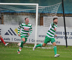 DAN WEST CELEBRATES AFTER SCORING THAME UNITED FIRST GOAL,   Cambridge City v Thame United, Evo Stick League South East, Westwood Road St Ives Ground,      Saturday 14th October 2017<br /> Score:4-2  Photo:Mike Capps/Kappasport