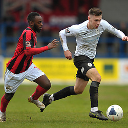 TELFORD COPYRIGHT MIKE SHERIDAN Ryan Barnett of Telford (on loan from Shrewsbury Town) and Omari Stirling-James of Kettering  during the Vanarama Conference North fixture between AFC Telford United and Kettering at The New Bucks Head on Saturday, March 14, 2020.<br /> <br /> Picture credit: Mike Sheridan/Ultrapress<br /> <br /> MS201920-050