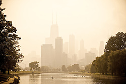 Downtown Chicago in Mist from Lincoln Park