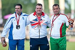 FYLACHTOS Marinos, DAVIES Aled, OVCHAROV Dechko, GRE, GBR, BUL, Discus, F42, Podium, 2013 IPC Athletics World Championships, Lyon, France