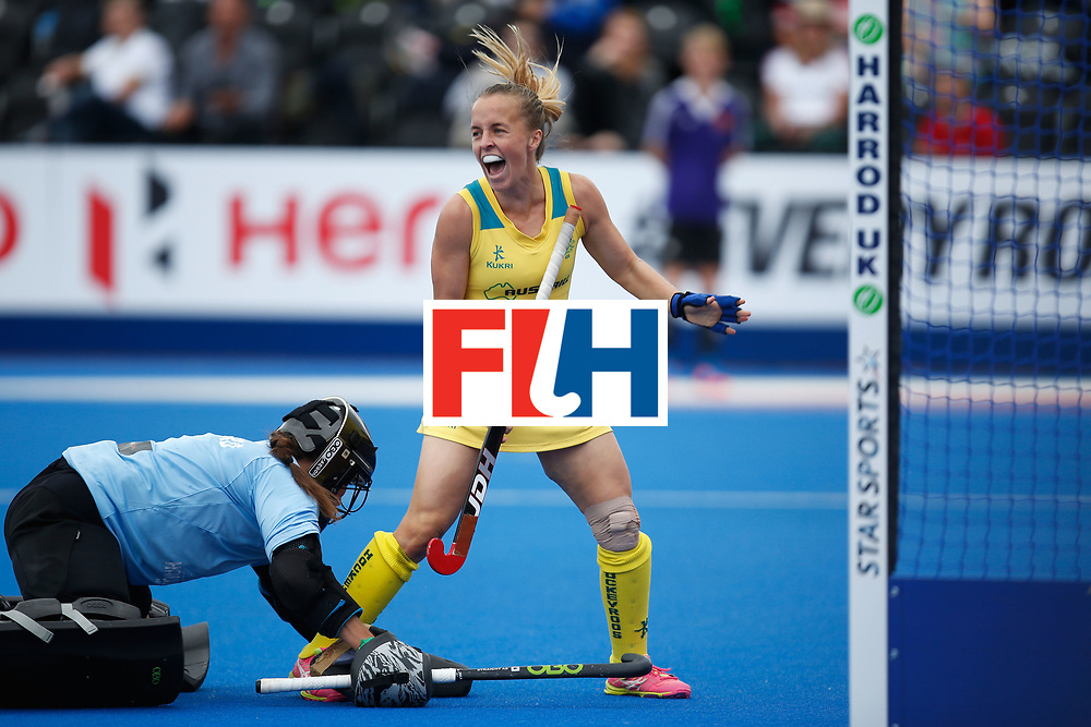 LONDON, ENGLAND - JUNE 19:  Emily Smith of Australia celebrates after she scored the games opening goal during the FIH Women's Hockey Champions Trophy 2016 match between Australia and New Zealand at Queen Elizabeth Olympic Park on June 19, 2016 in London, England.  (Photo by Joel Ford/Getty Images)