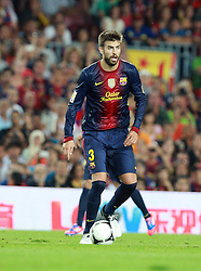 Gerard Pique in action for Barca.   Barcelona v Real Madrid, Supercopa first leg, Camp Nou, Barcelona, 23rd August 2012...Credit : Eoin Mundow/Cleva Media