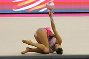 Rebecca Gergalo, Finland, during day one of the 33rd European Rhythmic Gymnastics at Papp Laszlo Budapest Sports Arena, Budapest, Hungary on 19 May 2017. Photo by Myriam Cawston.