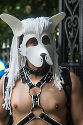 Portland Place, London, June 25th 2016. A revellers in a fetish mask poses for pictures as thousands of LGBT people and their supporters gather for Pride in London, a colourful celebration of the hard-won rights of lesbian, gay, bisexual and transgender people.