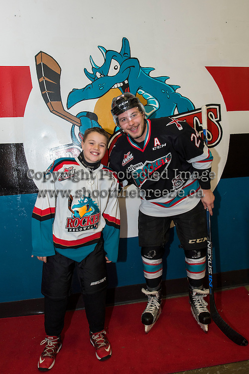 KELOWNA, CANADA - DECEMBER 2: Pepsi Save On Foods Player of the game and Tyson Baillie #24 of Kelowna Rockets on December 2, 2015 at Prospera Place in Kelowna, British Columbia, Canada.  (Photo by Marissa Baecker/Shoot the Breeze)  *** Local Caption *** Pepsi Save On Foods Player; Tyson Baillie;