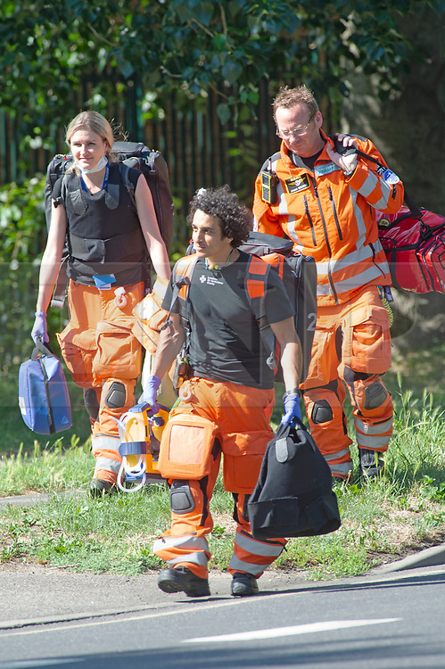 ©Licensed to London News Pictures 26/06/2020 <br /> Orpington, UK. Medics from the London Air Ambulance attend the scene of a gang attack in South East London. Photo credit: Grant Falvey/LNP