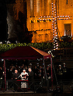 Rome, 03-04-2015<br /> <br /> Pope Francis celebrates the Stations of the Cross at the Colosseum.<br /> <br /> <br /> Photo:Royalportraits Europe/Bernard Ruebsamen