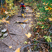 Andrew Whiteford rides the Hagen Trail singletrack off of Snow King Ski Area in Jackson, Wyoming.