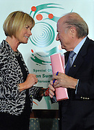 (L) MARY DAVIES & (R) SEPP BLATTER..SPECIAL OLYMPICS EUROPEAN SUMMER GAMES - WARSAW 2010..THE IDEA OF SEPCIAL OLYMPICS IS THAT, WITH APPROPRIATE MOTIVATION AND GUIDANCE, EACH PERSON WITH INTELLECTUAL DISABILITIES CAN TRAIN, ENJOY AND BENEFIT FROM PARTICIPATION IN INDIVIDUAL AND TEAM COMPETITIONS...WARSAW , POLAND , SEPTEMBER 18, 2010..MANDATORY CREDIT:.PHOTO BY ADAM NURKIEWICZ / MEDIASPORT