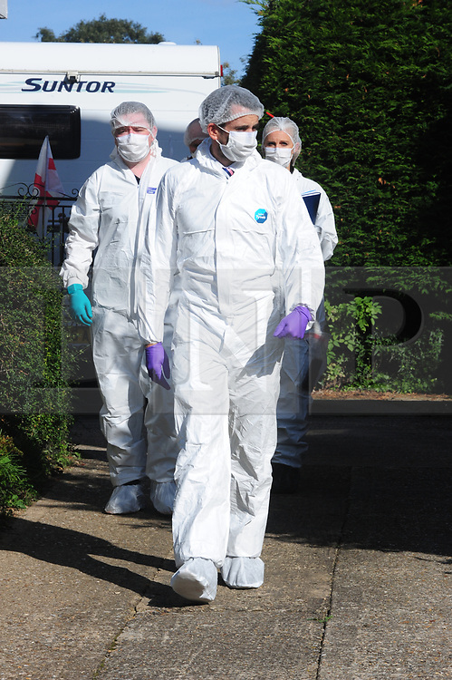 © Licensed to London News Pictures. 29/09/2018<br /> HADLOW, UK.<br /> Police forensics at the back gate to number 26 Carpenters Lane.<br /> A murder investigation has been launched in Hadlow,Kent after the deaths of two women at Carpenters Lane. A 28 year old man has been arrested on suspicion of murder after three people suffered serious injuries. Police forensic officers are at the scene inside two properties 26 and 24 Carpenters Lane.<br /> Photo credit: Grant Falvey/LNP