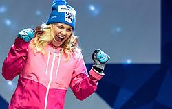 24.02.2017, Lahti, FIN, FIS Weltmeisterschaften Ski Nordisch, Lahti 2017, Damen Langlauf, 5km Sprint, Medaillen Zeremonie, im Bild Silbermedaillengewinnerin Jessica Diggins (USA), Goldmedaillengewinnerin Maiken Caspersen Falla (NOR), Bronze Medaillengewinnerin Kikkan Randall (USA) mit ihrem Kind // Silver Medalist Jessica Diggins (USA) Gold Medalist Maiken Caspersen Falla (NOR) Bronze Medalist Kikkan Randall (USA) with her baby during the Medal Award Ceremony for the Ladies Cross Country Sprint competition of FIS Nordic Ski World Championships 2017. Lahti, Finland on 2017/02/24. EXPA Pictures © 2017, PhotoCredit: EXPA/ JFK