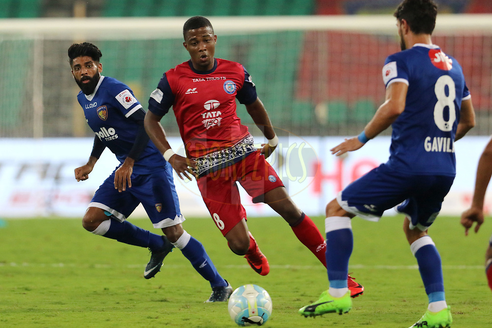 Trindade  of Jamshedpur FC on the attack during match 76 of the Hero Indian Super League between Chennaiyin FC and Jamshedpur FC   held at the Jawaharlal Nehru Stadium, Chennai India on the 18th February 2018<br /> <br /> Photo by: Vipin Pawar  / ISL / SPORTZPICS