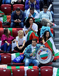 Fans during volleyball match between National teams of Poland and Slovenia in Quarterfinals of 2015 CEV Volleyball European Championship - Men, on October 14, 2015 in Arena Armeec, Sofia, Bulgaria. Photo by Ronald Hoogendoorn / Sportida