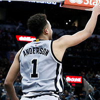 02 April 2017: San Antonio Spurs guard Kyle Anderson (1) is seen during the San Antonio Spurs 109-103 victory over the Utah Jazz, at the AT&T Center, San Antonio, Texas, USA.