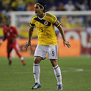 Radamel Falcao, Colombia, in action during the Columbia Vs Canada friendly international football match at Red Bull Arena, Harrison, New Jersey. USA. 14th October 2014. Photo Tim Clayton