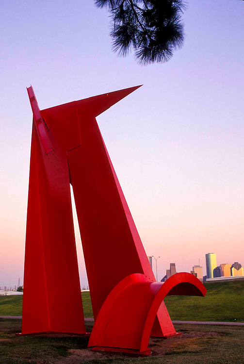 "Painted Steel Sculpture Titled ""Houston"" by Artist Mac Whitney,Located in Stude Park"