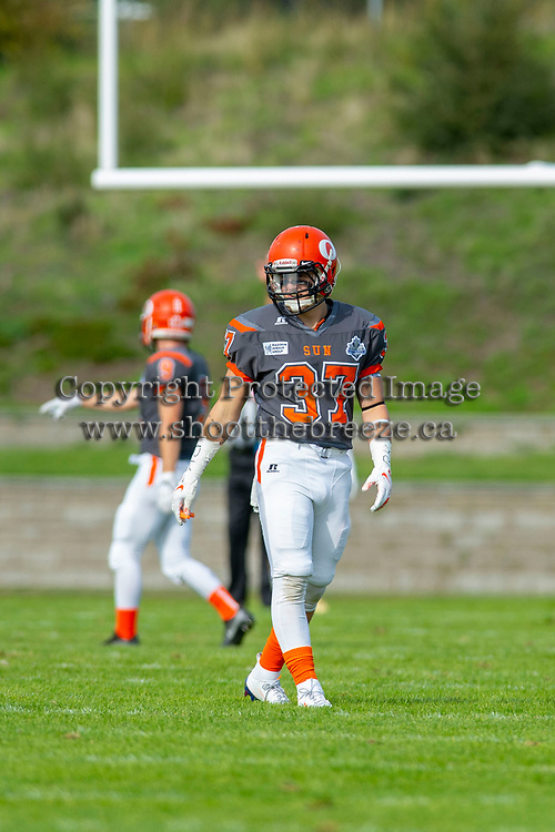 KELOWNA, BC - OCTOBER 6: Brody Mcpherson #37 of Okanagan Sun walks on the field against the VI Raiders  BCFC regular season at the Apple Bowl on October 6, 2019 in Kelowna, Canada. (Photo by Marissa Baecker/Shoot the Breeze)