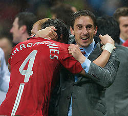 MOSCOW, RUSSIA - Wednesday, May 21, 2008: Manchester United's Gary Neville and Owen Hargreaves celebrate after beating Chelsea on sudden death penalties during the UEFA Champions League Final at the Luzhniki Stadium. (Photo by David Rawcliffe/Propaganda)