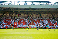 LIVERPOOL, ENGLAND - Sunday, May 24, 2009: Liverpool supporters on the Spion Kop display a mosaic in honor on Sami Hyypia's decade of service to the club before the Premiership match at Anfield. (Photo by: David Tickle/Propaganda)