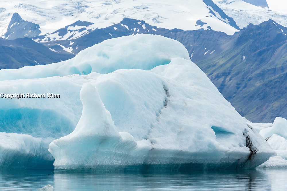 View of one of the icebergs in the Jökulsárlón glacial lagoon in southeastern Iceland.