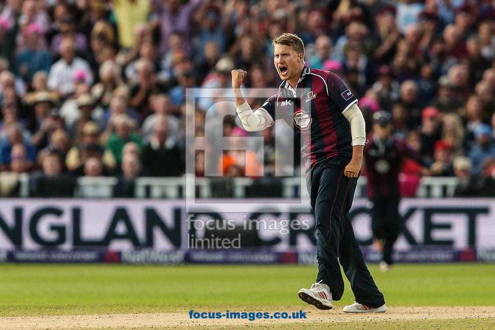 Josh Cobb of Northants Steelbacks celebrates taking the wicket of Alex Davies of Lancashire Lightning (not shown) during the Natwest T20 Blast Final at Edgbaston, Birmingham<br /> Picture by Andy Kearns/Focus Images Ltd 0781 864 4264<br /> 29/08/2015