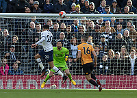 Football - 2019 / 2020 Premier League - Tottenham Hotspur vs. Wolverhampton Wanderers<br /> <br /> Dele Alli (Tottenham FC) glances his header just wide at The Tottenham Hotspur Stadium.<br /> <br /> COLORSPORT/DANIEL BEARHAM