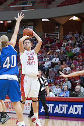 26 February 2006:  Holly Hallstrom gets some space to get a shot off over Amy hoffman.....Illinois State Redbirds out muscled the Creighton Bluejays on Senior day by a score of 75-61.  Senior Holly Hallstorm grabbed her 10th double double with 20 points and 12 rebounds.  Competition took place at Redbird Arena on Illinois State University campus in Normal Illinois.
