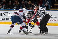 KELOWNA, CANADA - NOVEMBER 26: Dawson Leedahl #71 of the Regina Pats faces off against Rodney Southam #17 of the Kelowna Rockets on November 26, 2016 at Prospera Place in Kelowna, British Columbia, Canada.  (Photo by Marissa Baecker/Shoot the Breeze)  *** Local Caption ***