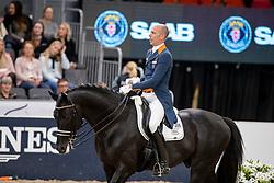 MINDERHOUD Hans Peter (NED), Glock's Dream Boy N.O.P.<br /> Göteborg - Gothenburg Horse Show 2019 <br /> FEI Dressage World Cup™ Final I<br /> Int. dressage competition - Grand Prix de Dressage<br /> Longines FEI Jumping World Cup™ Final and FEI Dressage World Cup™ Final<br /> 05. April 2019<br /> © www.sportfotos-lafrentz.de/Stefan Lafrentz