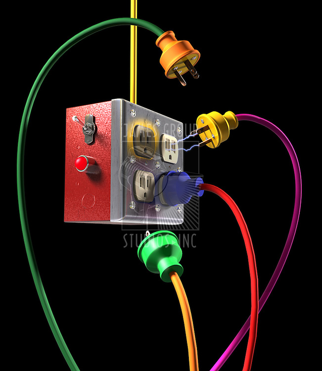 Colorful electric plugs and socket box on a black background