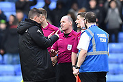 Leeds United manager Paul Heckingbottom talking to the referee at full time after a 2-2 draw during the EFL Sky Bet Championship match between Reading and Leeds United at the Madejski Stadium, Reading, England on 10 March 2018. Picture by Graham Hunt.