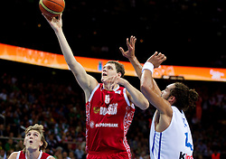 Timofey Mozgov of Russia vs Joakim Noah of France during basketball game between National basketball teams of France and Russia in 2nd Semifinal of FIBA Europe Eurobasket Lithuania 2011, on September 16, 2011, in Arena Zalgirio, Kaunas, Lithuania.  (Photo by Vid Ponikvar / Sportida)