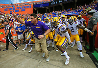 Ed Orgeron during the LSU Tigers at Florida Gators college football game in Gainesville, Florida, October 7, 2017.  Tom DiPace