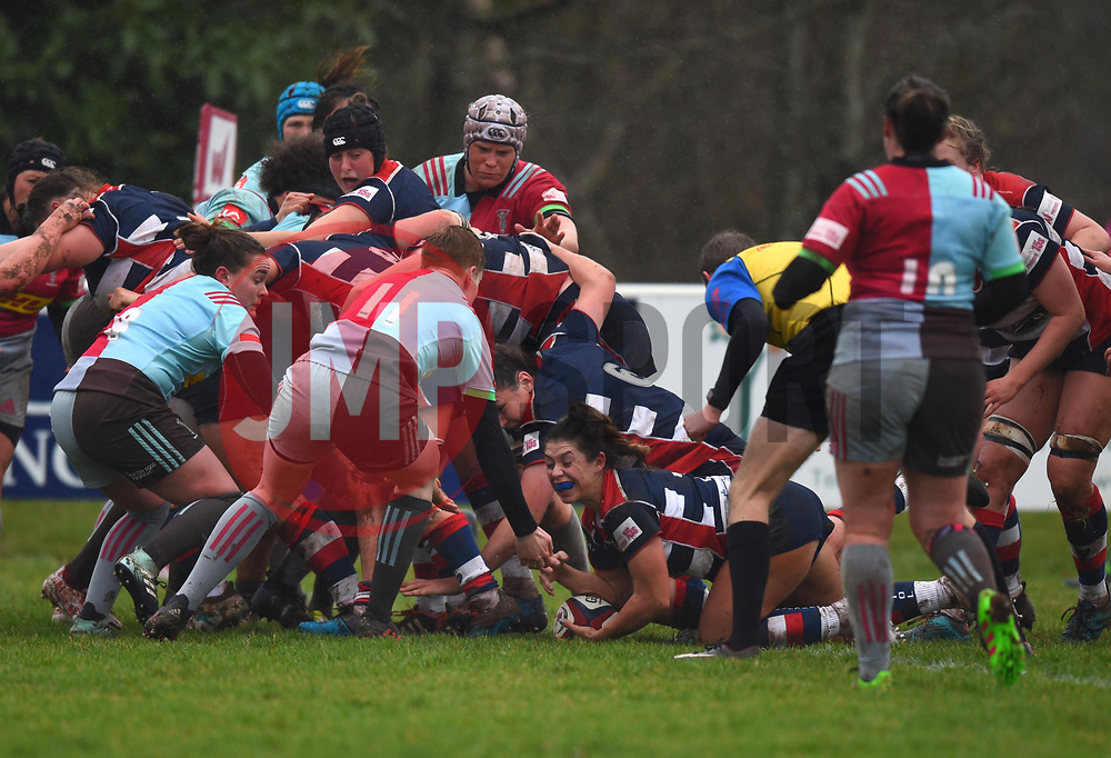 Daisie Mayes of Bristol Ladies touches down after the Bristol pack pushes over the line - Mandatory by-line: Paul Knight/JMP - 03/02/2018 - RUGBY - Cleve RFC - Bristol, England - Bristol Ladies v Harlequins Ladies - Tyrrells Premier 15s