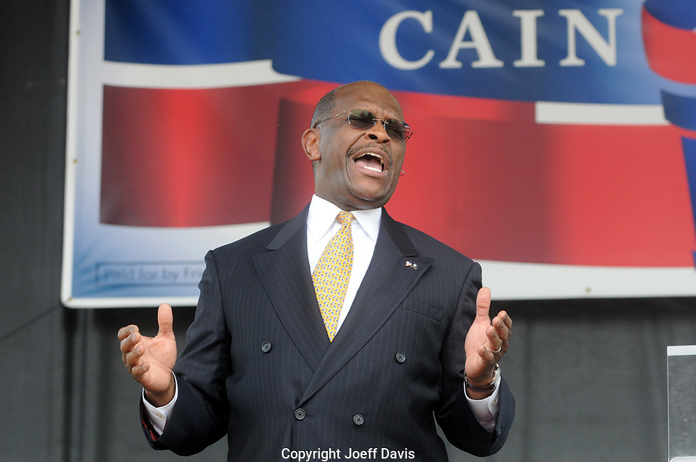 "ATLANTA, GA-May 21, 2011: Former Atlanta radio host and Godfather's Pizza CEO Herman Cain officially announced today that he's running for the Republican presidential nomination. ""Is America ready for a leader and not a reader?"" Cain asked the cheering crowd of thousands in Centennial Olympic Park."
