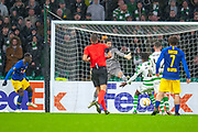 Jean-Kevin Augustin (#29) of RB Leipzig scores a goal for RB Leipzig during the Europa League group stage match between Celtic and RP Leipzig at Celtic Park, Glasgow, Scotland on 8 November 2018.