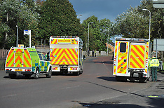 Emergency services attend the scene of an reported explosion in Bonkle | Wishaw | 5 October 2017
