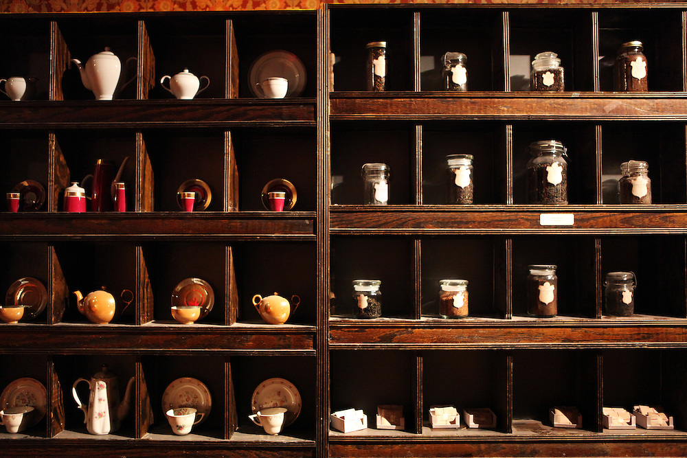 "Sleep No More is a new theater concept in Chelsea where the audience is guided through 90 rooms in an experiential tour that involves interpretative dancers and incredibly detailed sets. A shelf of teas in the ""hotel lobby"" space...CREDIT: Daniella Zalcman for The Wall Street Journal.SLUG: SLEEPNOMORE"