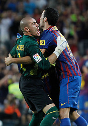 17.08.2011, Camp Nou, Barcelona, ESP, Supercup 2011, FC Barcelona vs Real Madrid, im Bild FC Barcelona's Victor Valdes (l) and Sergio Busquets celebrates goal during Spanish Supercup 2nd match.August 17,2011. EXPA Pictures © 2011, PhotoCredit: EXPA/ Alterphotos/ Acero +++++ ATTENTION - OUT OF SPAIN / ESP +++++