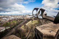 Edinburgh as seen from the barrel of The One O'Clock Gun on the Edinburgh Castle Esplanade.