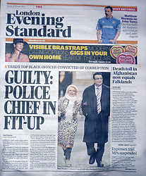 Picture ©Mark Larner. Picture shows front page of the  Evening Standard 08.02.10 showing image of Ali Dizaei arriving at  Southwark Crown Court. 8th February 2010...Dizaei, a former Metropolitan Police Commander, was today found guilty of gross misconduct in a public office and perverting the course of justice.