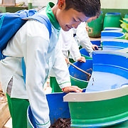 CAPTION: Students and teachers have been trained on how to use organic waste to make compost. Any excess is sold as fertiliser, and the profits generated go towards building a school garden. LOCATION: SMP N 7 School, Bandar Lampung, Indonesia. INDIVIDUAL(S) PHOTOGRAPHED: Muklis Bima In.