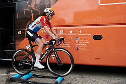 Christine Majerus (LUX) warms up for Ladies Tour of Norway 2018 Stage 1, a 127.7 km road race from Rakkestad to Mysen, Norway on August 17, 2018. Photo by Sean Robinson/velofocus.com