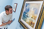 Bamborough Castle - The EY Exhibition: Late Turner – Painting Set Free - the first exhibition to survey Turner's final period of work (1835-51). From the age of 60 until his death. Highlights include: his 'radical' square oil paintings in recently restored frames - at the time of their creation, these works were his most controversial and were famously subjected to a hail of abuse in the press; Bamborough Castle c.1837 – an important work from a private collection which has only been displayed in public once in 125 years (pictured); Ancient Rome and Modern Rome c.1839 – brought together for the first time in a generation; and Turner's three final masterpieces shown in newly reconstructed frames: Mercury Sent to Admonish Aeneas, The Visit to the Tomb and The Departure of the Fleet c.1850. The show runs from 10 Sept to 25 January. Tate Britain, London, UK, 08 Sept 2014.