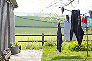 Laundry room and clothes lines, Pickwell Manor, Georgeham, North Devon, UK.<br /> CREDIT: Vanessa Berberian for The Wall Street Journal<br /> HOUSESHARE