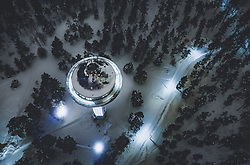 THEMENBILD - der beleuchtet Wasserturm im Winter mit Schnee bedeckt, in der Landschaft aufgenommen am 08. Februar 2019 in Lahti, Finnland // the illuminated water tower in winter covered with snow, in the countryside, Lahti, Finland on 2019/02/08. EXPA Pictures © 2019, PhotoCredit: EXPA/ JFK