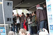 Markering mot nazisme i Tordenskjoldparken, Trondheim, lørdag 17. mars 2012..Bidragsytere i markeringen var blant annet politikere fra flere politiske parti, Mikael Wiehe og Åge Aleksandersen.