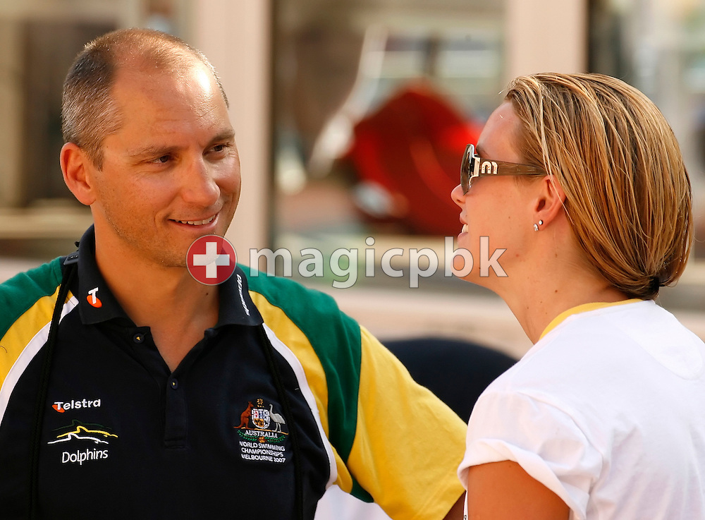 Australia based coach Stephan WIDMER (L) of Switzerland talks to Joanna Fargus during day two at the 28th International Swimming Meet (50m) held at Piscina Pere Serrat in Barcelona, Spain, Thursday, June 14, 2007. (Photo by Patrick B. Kraemer / MAGICPBK)